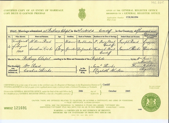 marriage certificates: marriage certificate for william reed and